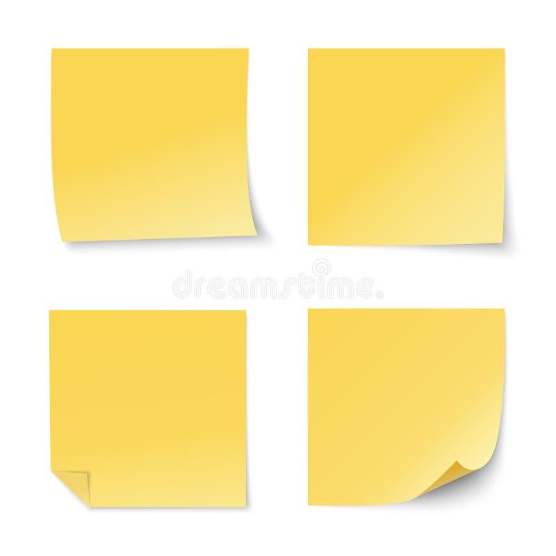 Ensemble de notes de stickу de jaune de vecteur illustration libre de droits
