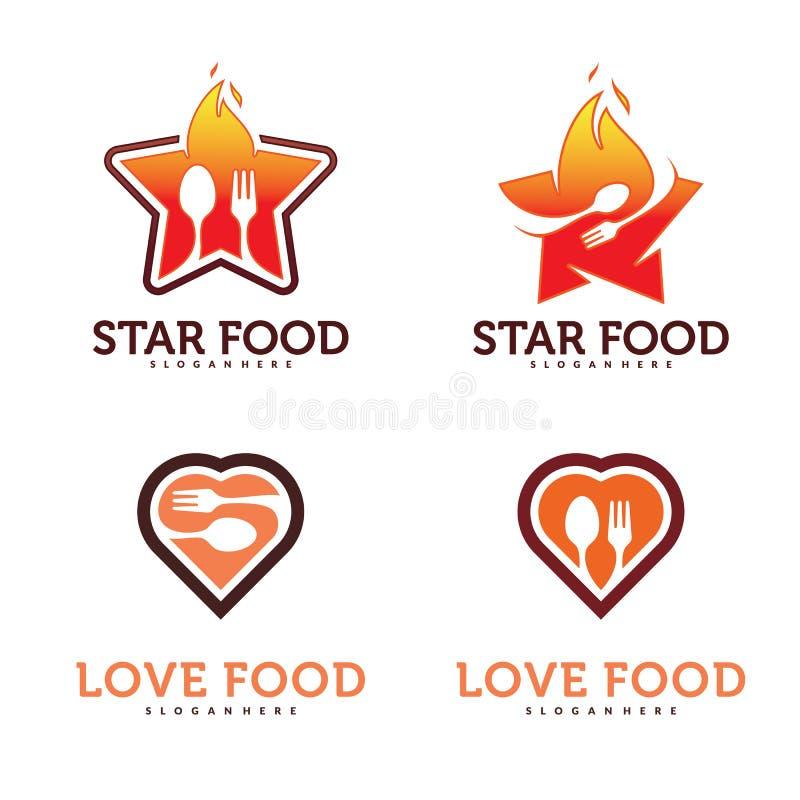 Ensemble de nourriture avec l'étoile Logo Vector illustration de vecteur