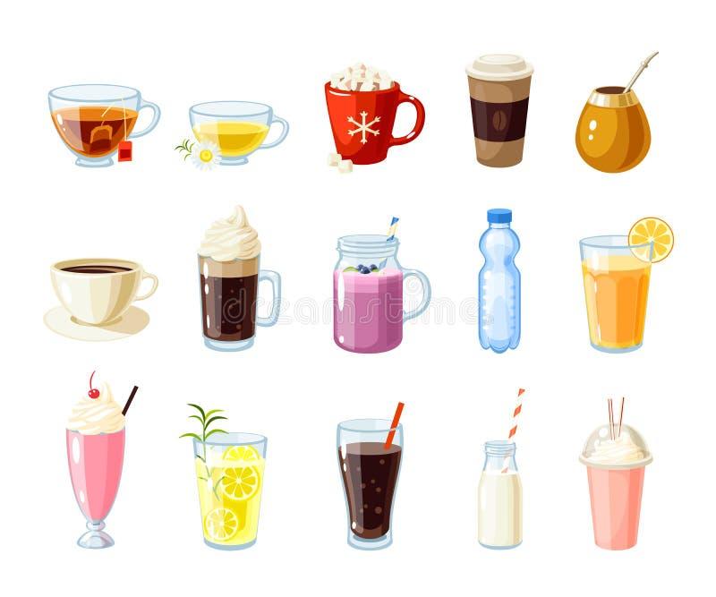 Ensemble de nourriture de bande dessinée : boissons non alcoolisées illustration stock