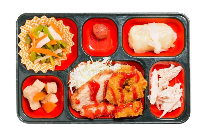 Ensemble de nourriture du Japon de beignet et d'autre de poulet dans une boîte photos libres de droits