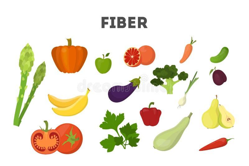 Ensemble de nourriture de fibre. Haricots et brocoli, riz illustration stock