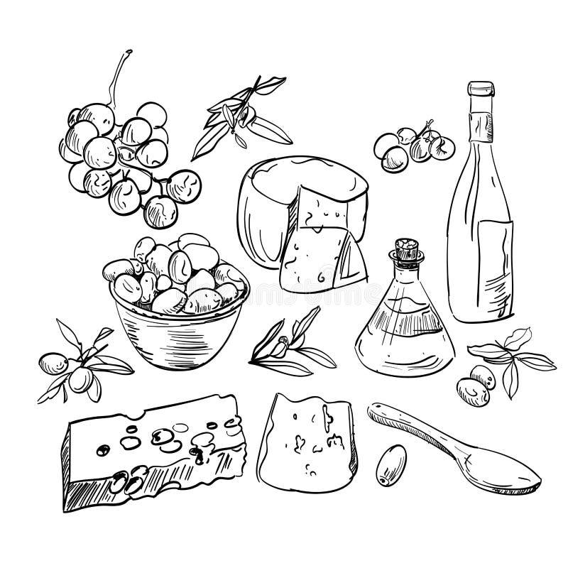 Ensemble de nourriture tirée par la main illustration de vecteur
