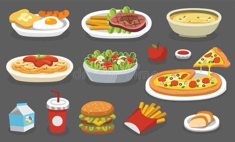 Ensemble de nourriture traditionnelle illustration de vecteur