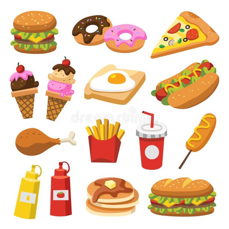 Ensemble de nourriture traditionnelle illustration stock