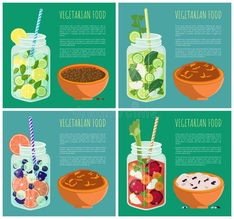 Ensemble de nourriture végétarienne avec le régime régénérateur de Detox illustration libre de droits
