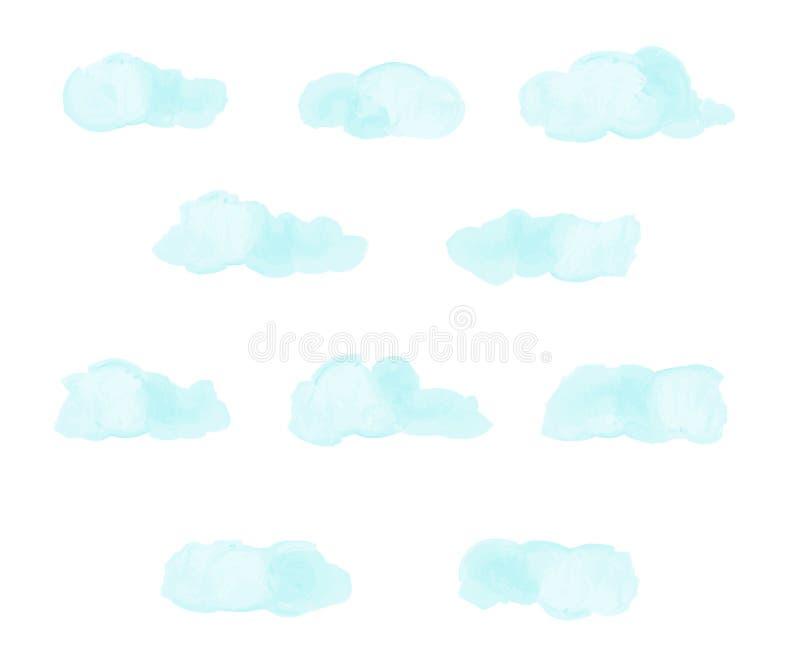 Ensemble de nuages abstraits bleu-clair Imitation d'aquarelle Nuages tirés par la main Illustration de vecteur illustration stock