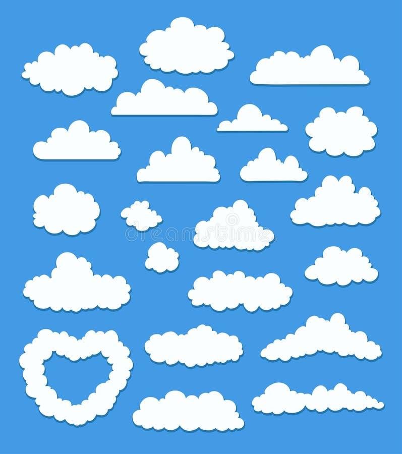 Ensemble de nuages de bande dessinée sur le bleu Vecteur illustration libre de droits