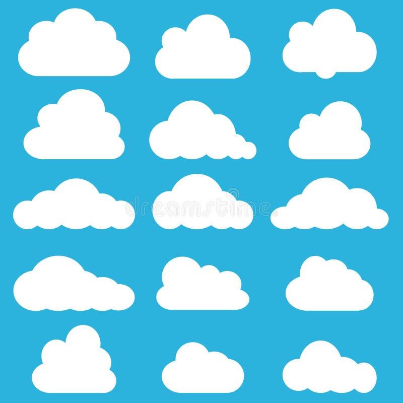 Ensemble de nuages en ciel bleu Forme d'ic?ne de nuage Collection de diff?rents nuages, label, symbole ?l?ment graphique de conce illustration stock