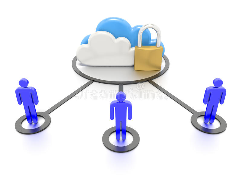 Ensemble de nuages et d'un cadenas, stockage de données sûr illustration de vecteur