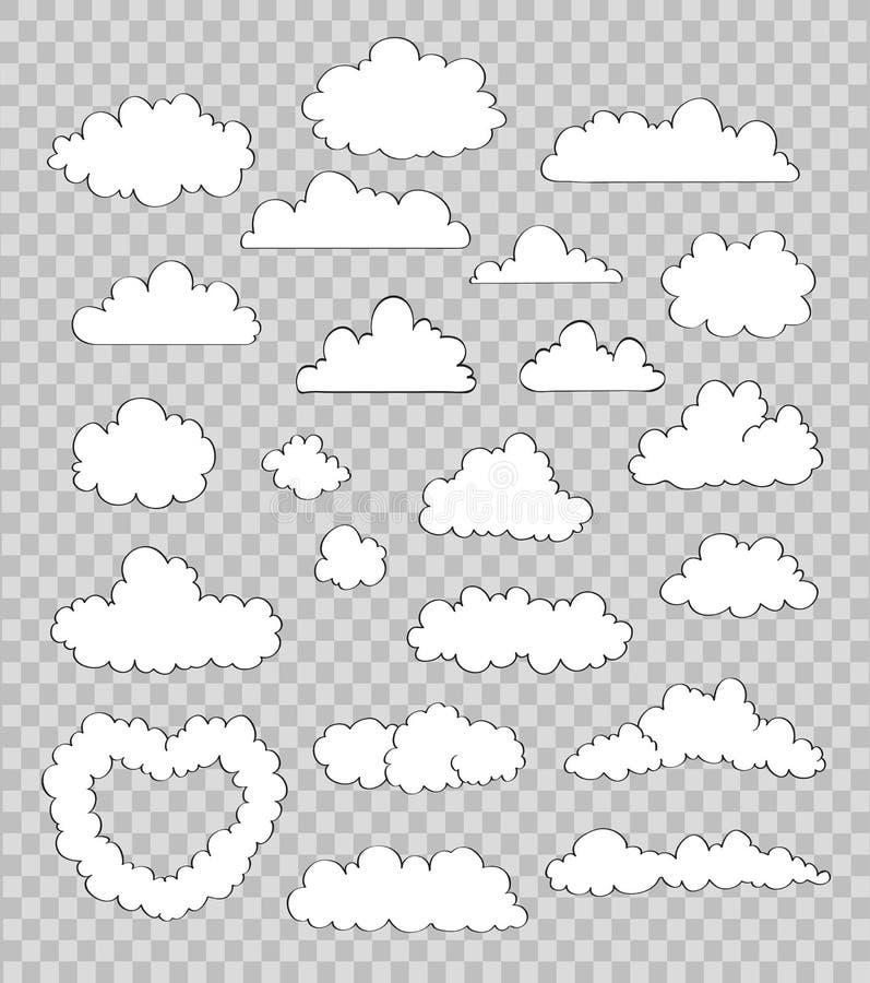 Ensemble de nuages sur le fond transparent Vecteur illustration libre de droits