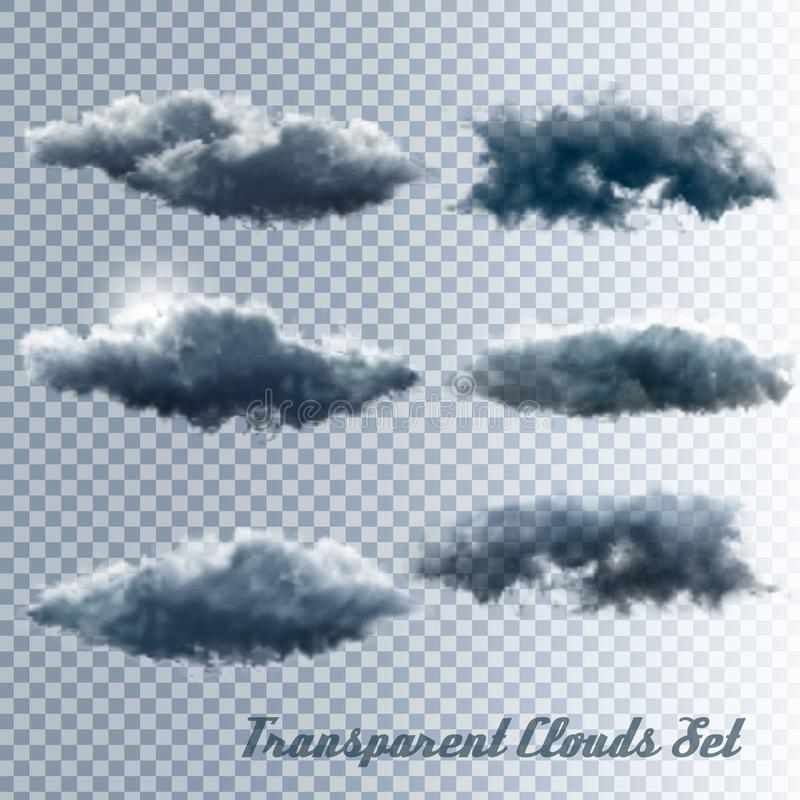 Ensemble de nuages transparents illustration stock