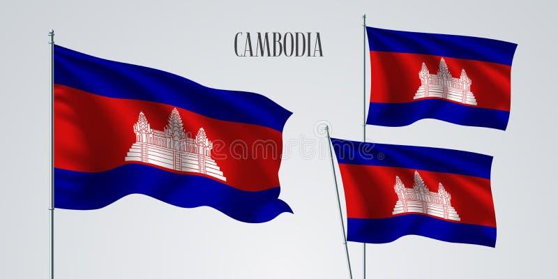 Ensemble de ondulation cambodgien de drapeau d'illustration de vecteur Couleurs rouges bleues illustration stock