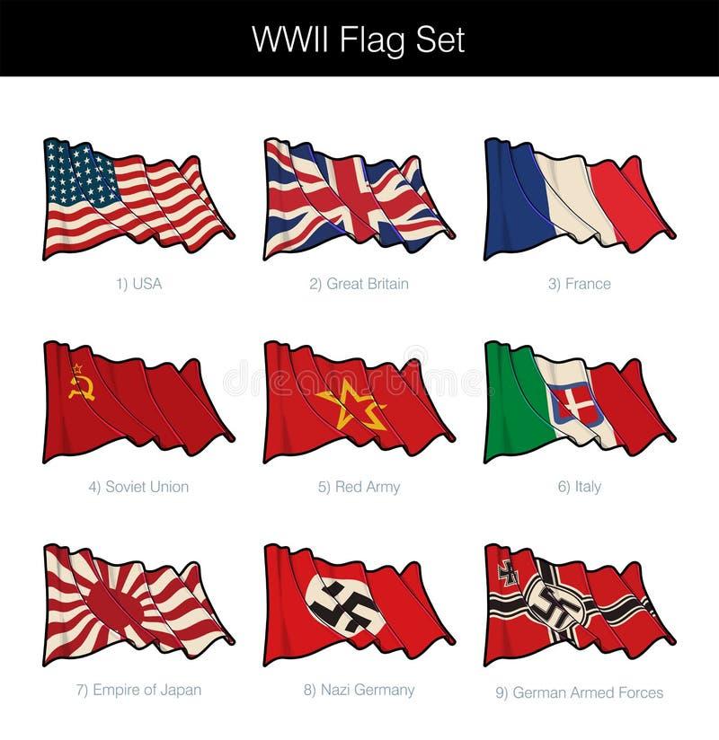Ensemble de ondulation de drapeau de la deuxième guerre mondiale illustration stock
