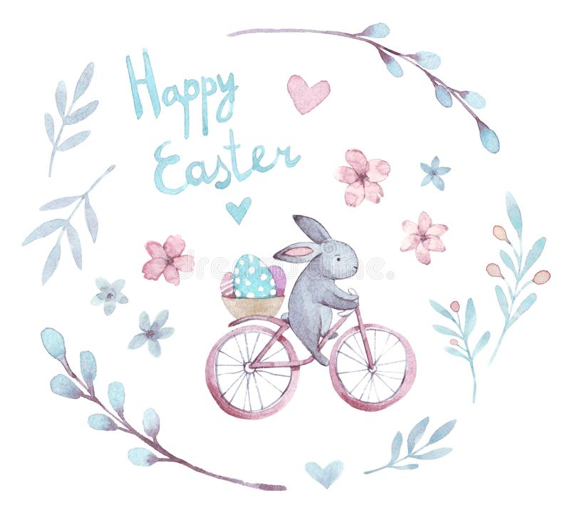 Ensemble de Pâques d'aquarelle Lapin de bande dessinée, fleurs, coeurs, bicyclette, oeufs photos stock
