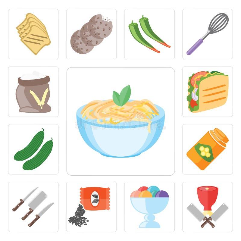 Ensemble de pâtes, boucher, crème glacée, graines, couteaux, miel, concombre illustration libre de droits
