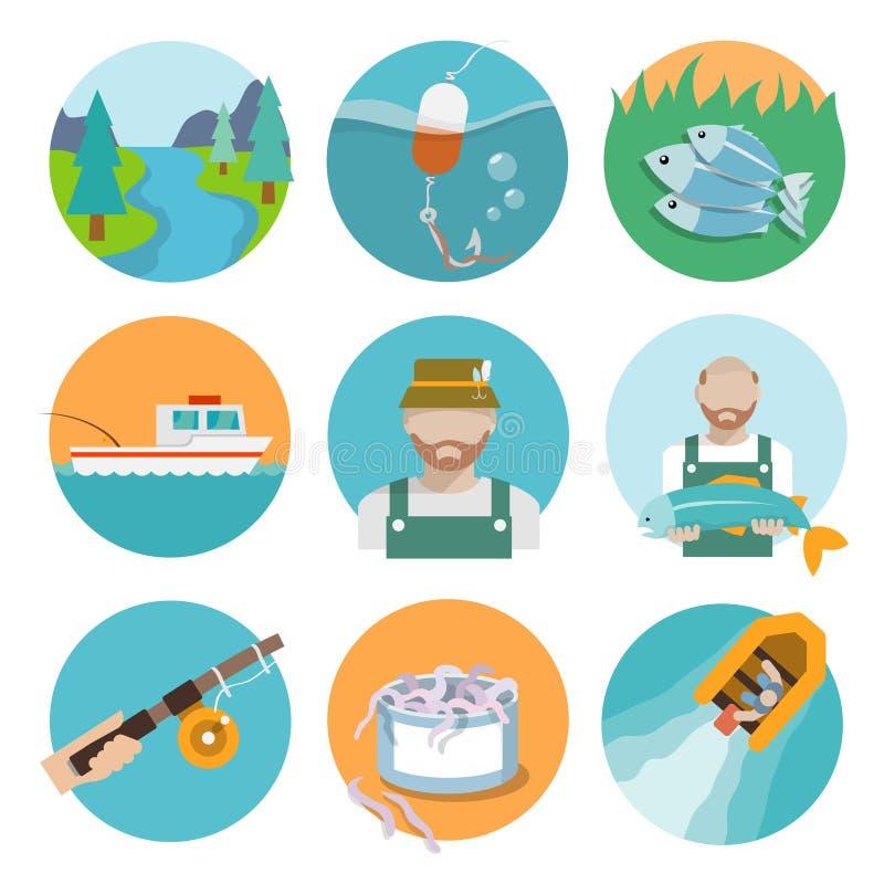 Ensemble de pêcher les icônes plates illustration stock