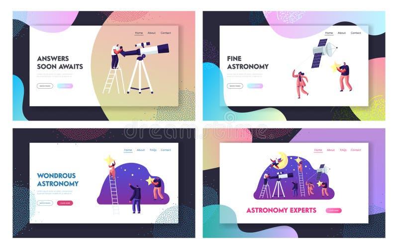 Ensemble de page d'atterrissage de site Web de la Science d'astronomie, caractères de personnes étudiant l'espace, exploration de illustration stock