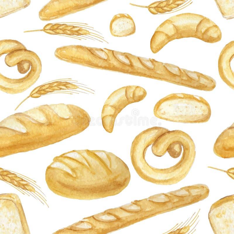 Ensemble de pain d'aquarelle Modèle sans couture tiré par la main, fond illustration libre de droits
