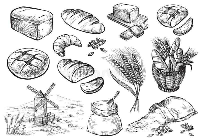 Ensemble de pain frais illustration libre de droits