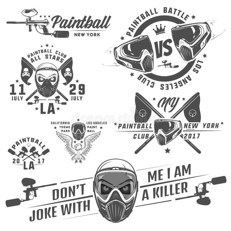 Ensemble de paintball, conception de paintball, tatouage de paintball illustration stock