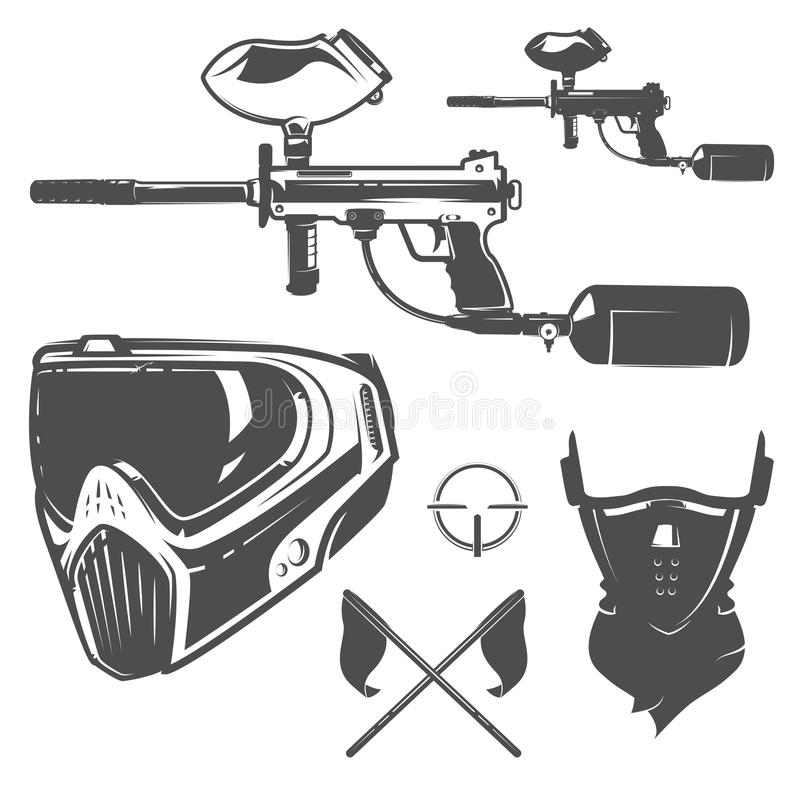 Ensemble de paintball, conception de paintball, tatouage de paintball illustration de vecteur