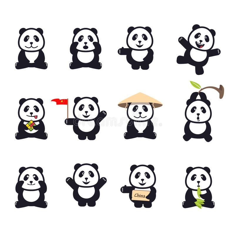 Ensemble de pandas drôles mignons de bande dessinée illustration libre de droits