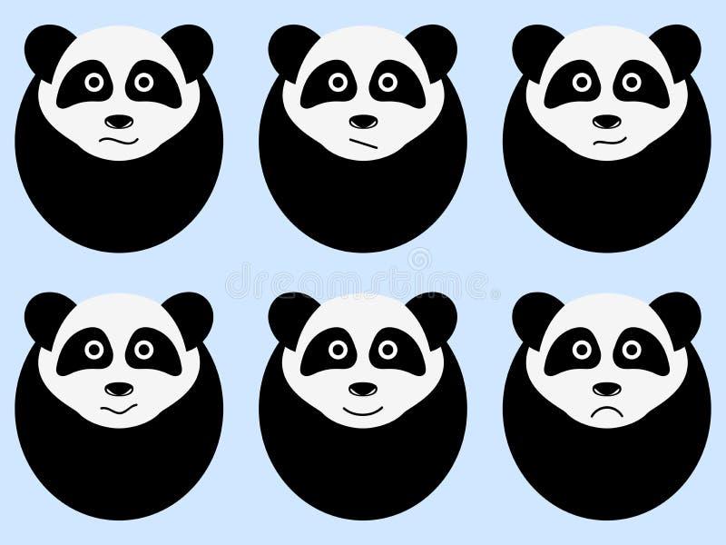 Ensemble de pandas mignons émotions Vecteur illustration de vecteur