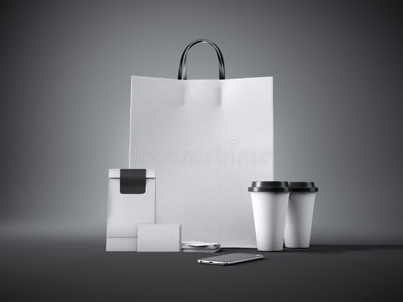 Ensemble de panier blanc de métier, deux tasses de café illustration de vecteur