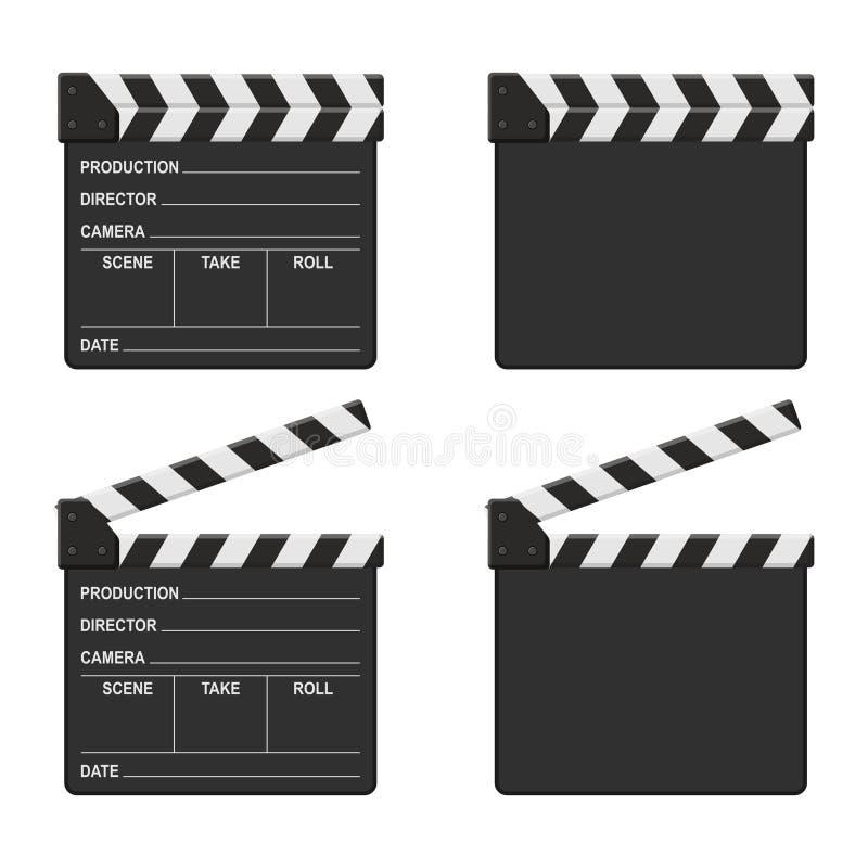 Ensemble de panneau de clapet de film d'isolement sur le fond blanc Cinéma vide de clapet de film illustration libre de droits