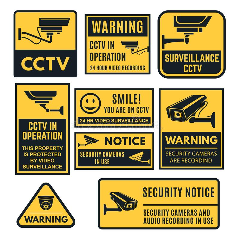 Ensemble de panneau d'avertissement de télévision en circuit fermé, commandes système visuelles illustration libre de droits