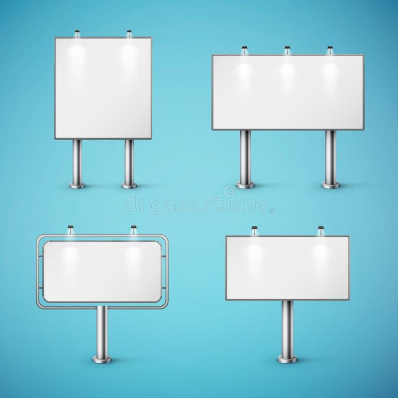 Ensemble de panneaux d'affichage réalistes vides illustration de vecteur