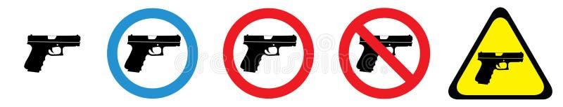 Ensemble de panneaux d'avertissement d'armes à feu illustration de vecteur