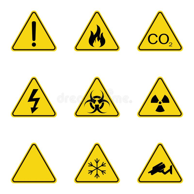 Ensemble de panneaux d'avertissement de triangle Icône d'avertissement de roadsign signe de Danger-avertissement-attention Fond j illustration stock