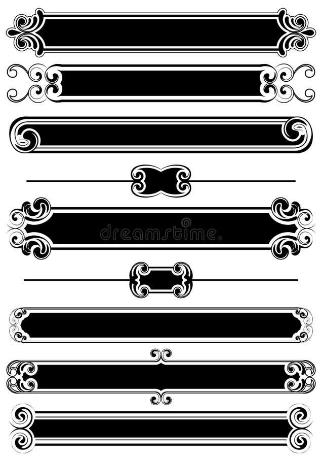 Ensemble de panneaux et de lignes noirs de règle illustration libre de droits