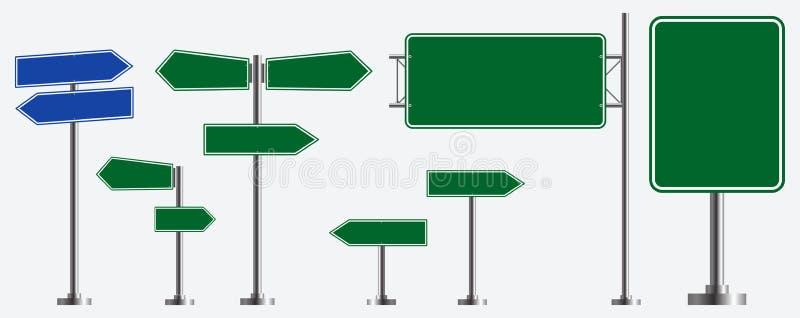 Ensemble de panneaux routiers d'isolement facile à modifier illustration libre de droits