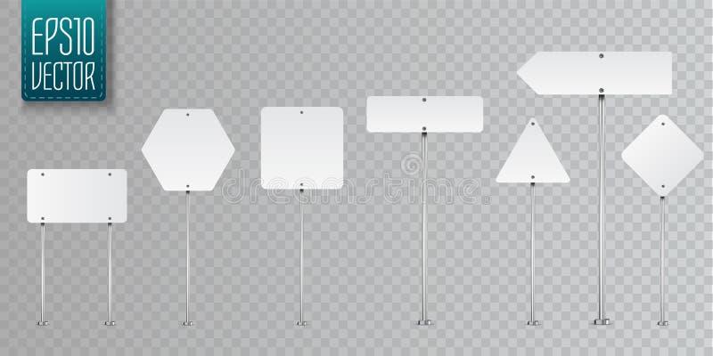 Ensemble de panneaux routiers vides de vecteur d'isolement sur le fond transparent illustration de vecteur