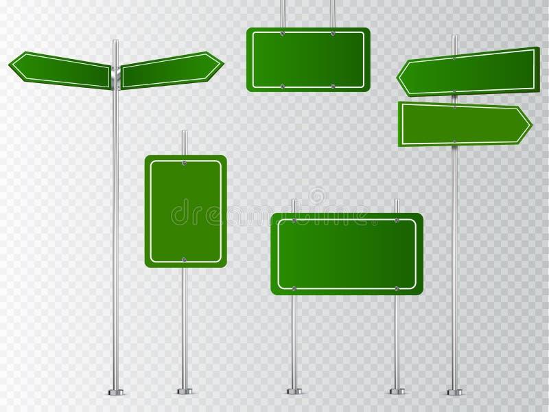 Ensemble de panneaux routiers vides de vecteur d'isolement sur le fond transparent illustration stock