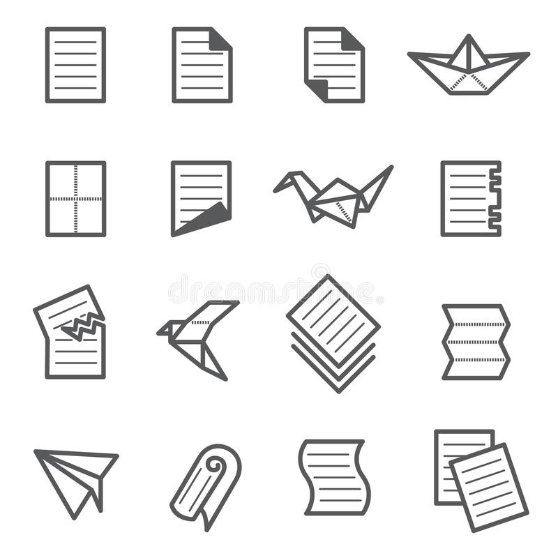 Ensemble de papier d'icône illustration de vecteur