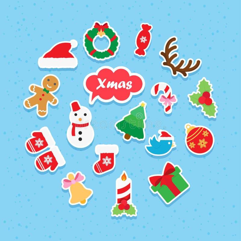 Ensemble de papier d'icône de Noël photographie stock