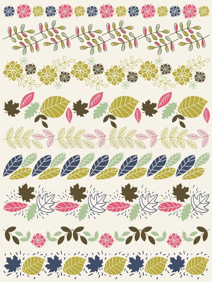 Ensemble de papier de dentelle avec la fleur et les feuilles illustration stock