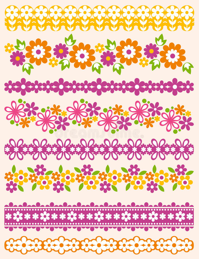 Ensemble de papier de dentelle avec la fleur, vecteur illustration stock