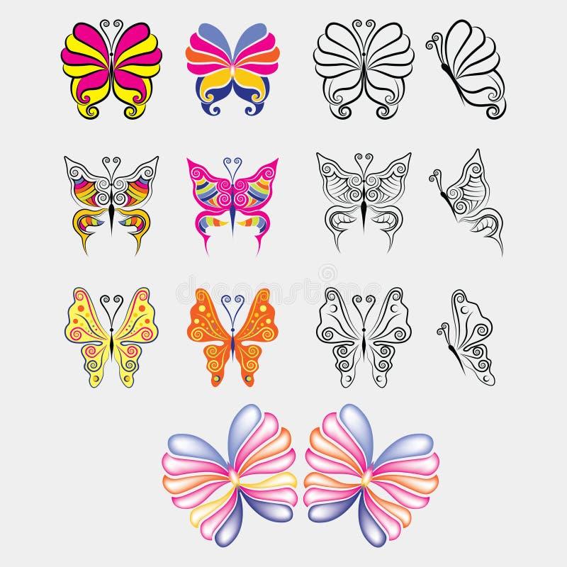 Ensemble de papillon coloré et noir illustration libre de droits