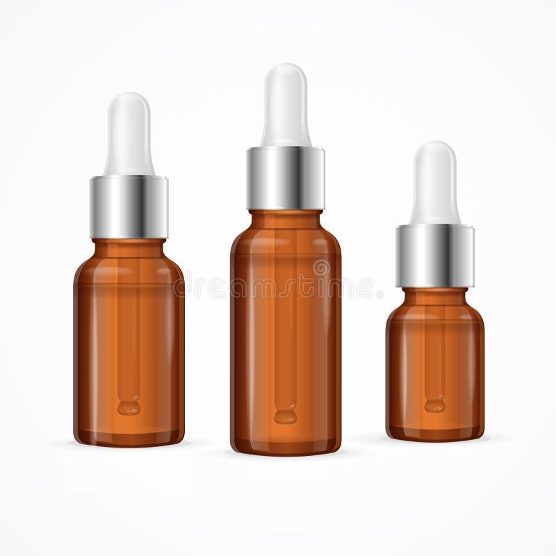 Ensemble de paquet de bouteille d'huile essentielle Vecteur illustration stock