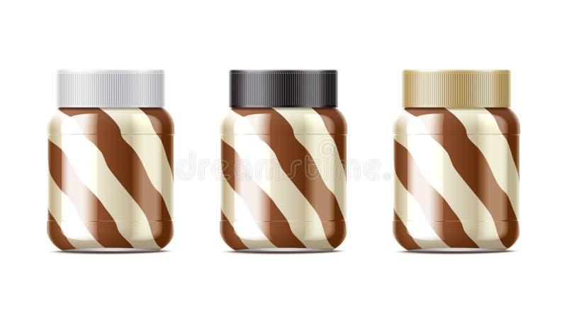 Ensemble de paquet de pâte de chocolat illustration stock