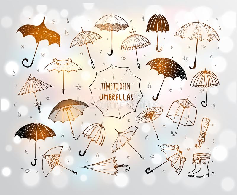 Ensemble de parapluies de croquis de griffonnage sur le fond rougeoyant blanc illustration stock