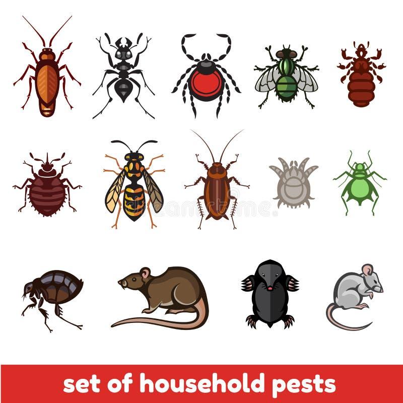Ensemble de parasites de ménage dans le style pur illustration de vecteur