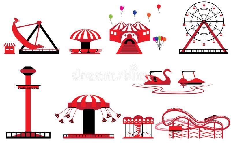 Ensemble de parc à thème et d'amusement illustration stock