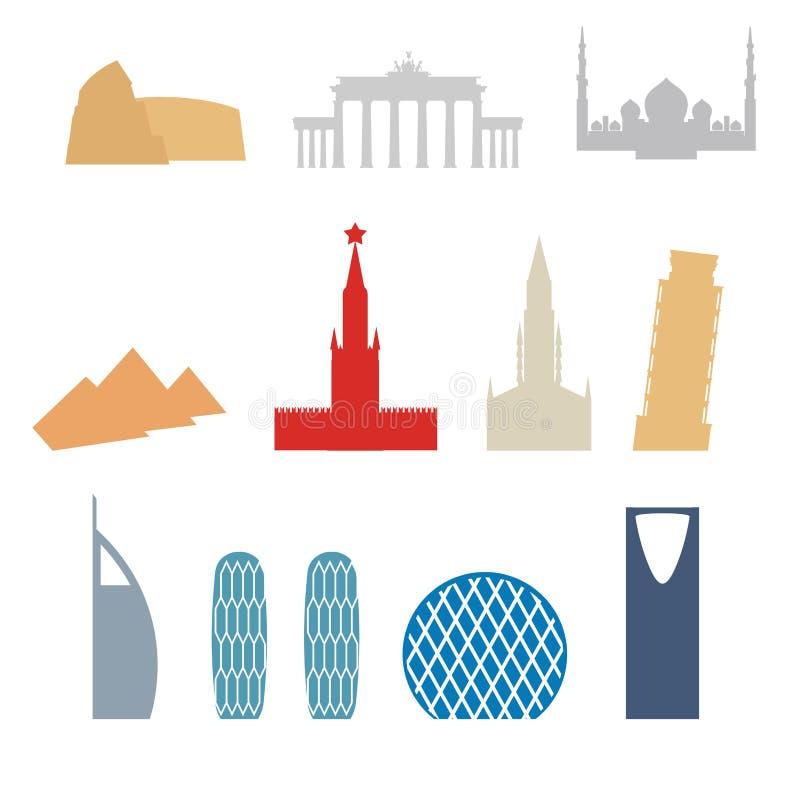 Ensemble de pays plats d'icônes de bâtiments Attraction de Dubaï, Rome illustration libre de droits