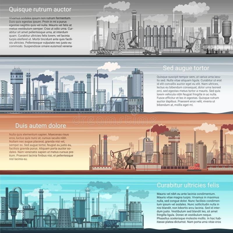 Ensemble de paysage industriel de bannières d'usine de vecteur Raffinerie abstraite d'usine, de pétrole et de gaz, fabrication ch illustration stock
