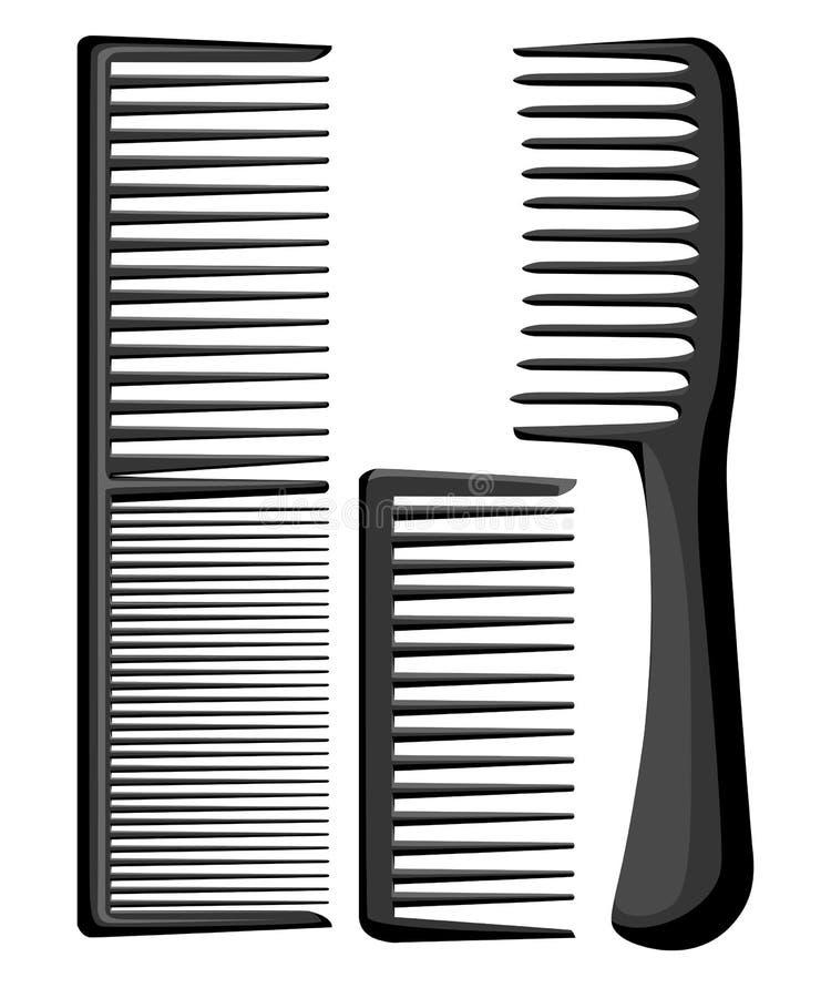 Ensemble de peignes et de brosses professionnels de massage pour des cheveux Différents articles pour peigner des brosses à cheve illustration stock